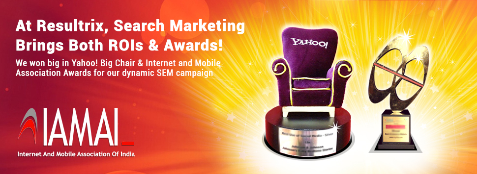 Resultrix lifted 2012 Bronze, Yahoo Big Idea Chair Award for Best use of Search.